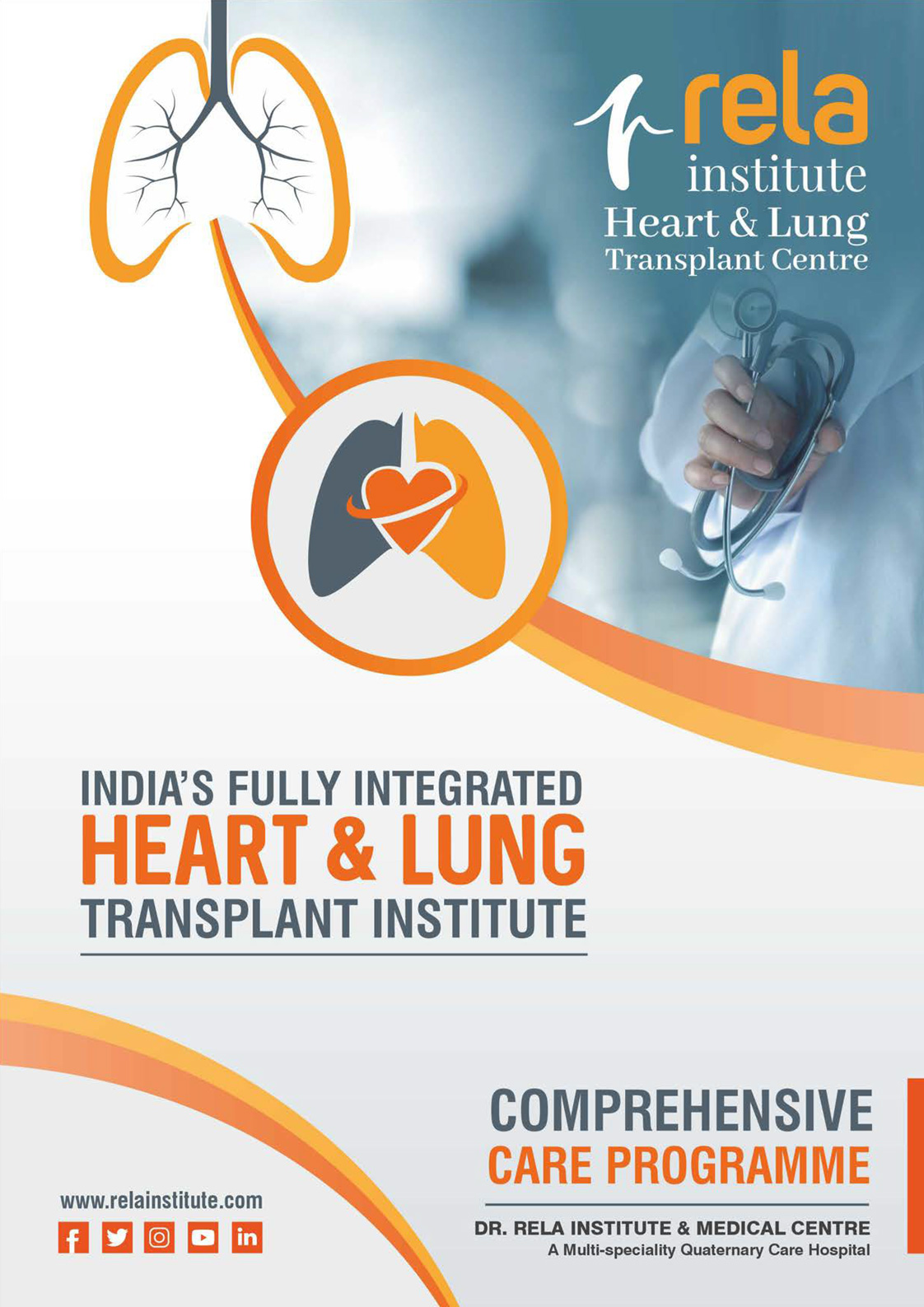 Brochure of Rela Heart & Lung Transplant Centre – India's most experienced and the preferred Heart & Lung Transplant service provider.